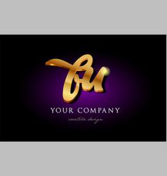 bu b u 3d gold golden alphabet letter metal logo vector image vector image