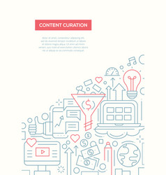 content curation - line design brochure poster vector image