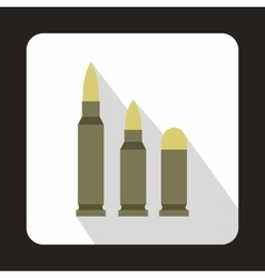 Different caliber bullets icon flat style vector