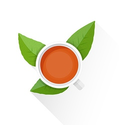 flat tea cup green leafs icon vector image vector image
