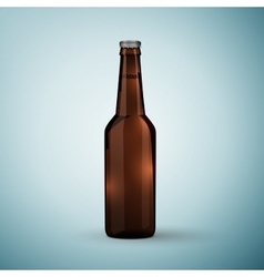 Glass beer brown bottle icon isolated on blue vector image
