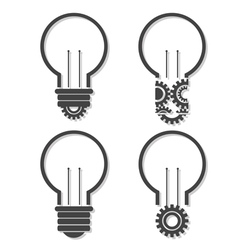 Light bulb with lightning in form of gear and idea vector