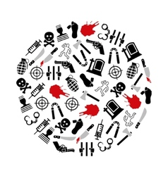 Murder icons in circle vector