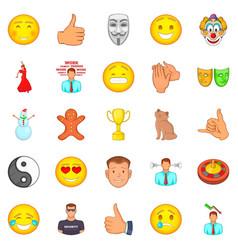 positive emotion icons set cartoon style vector image