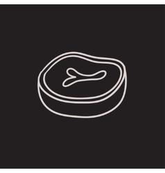 Steak sketch icon vector image