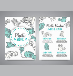 brochure set with photo and video design in doodle vector image