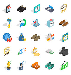 business help icons set isometric style vector image