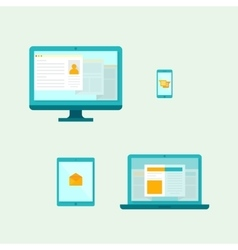 Computer Mobile phone Tablet Laptop Icons vector image