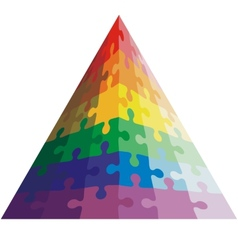 Jigsaw puzzle shape of a triangle colors vector image vector image