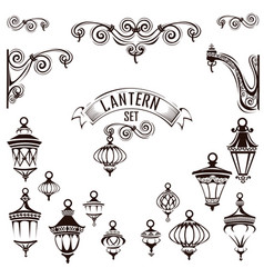 vintage lamps set vector image