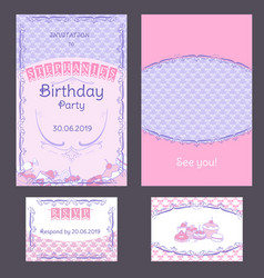 colorful vintage birthday invitation cards set vector image vector image