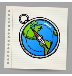 doodle compass vector image vector image