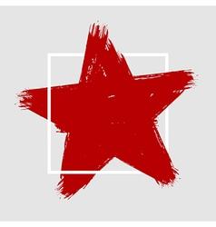 Grunge hand painted brush stroke star vector image