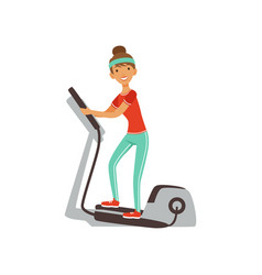 young woman character exercising with elliptical vector image vector image