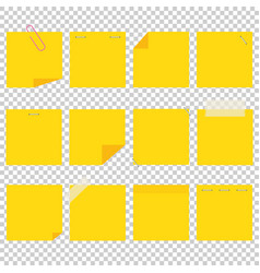 a set of yellow office sticky sheets a simple vector image
