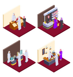 arab 3d people isometric arabs shopping vector image