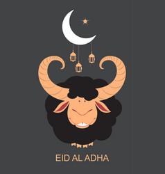 black ram sacrificial animal for eid al adha vector image