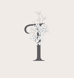 Blooming floral initial i monogram and logo vector