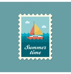 Boat with a Sail flat stamp summertime vector