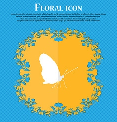 butterfly Floral flat design on a blue abstract vector image