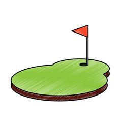 cartoon golf flag with hole grass field vector image