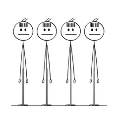 Cartoon of group of identical men with bar code vector