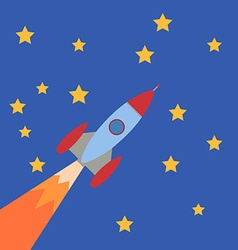 Cartoon Rocket on blue background with stars vector