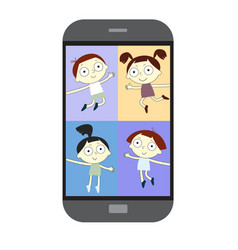 chat with child online collective virtual meeting vector image