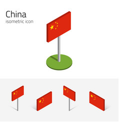 Chinese prc flag set of 3d isometric vector