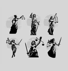 Collection goddess justice themis vector