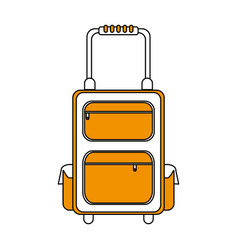 color silhouette image travel suitcase with handle vector image