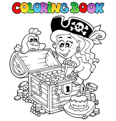 Coloring book with pirate theme 5 vector