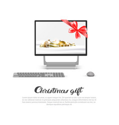 computer monitor with robbon bow and holiday vector image