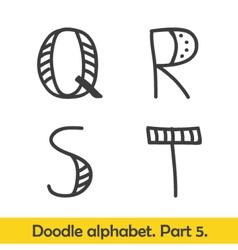 Cute hand drawn alphabet doodle letters Q-T vector