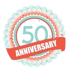 Cute Template 50 Years Anniversary with Balloons vector
