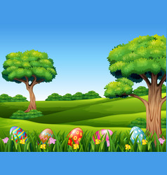 decorative easter eggs on the meadow in the nature vector image