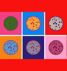 Disco ball icon pop art style vector