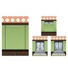 dishwasher machine icons set realistic style vector image