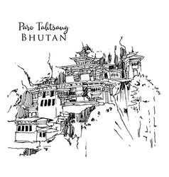 Drawing sketch tigers nest temple in bhutan vector