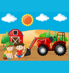 Farm scene with boys and tractor in the field vector