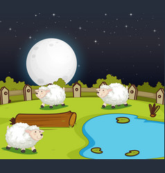 Farm scene with cute sheep at night vector