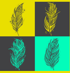 Feather icons set of logo design templates vector