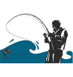 Fishing design for a fisherman catches vector