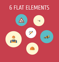flat icons pneumatic worker handcart vector image
