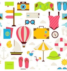Flat Summer Travel Seamless Pattern vector