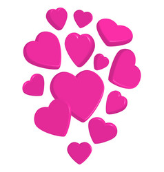 Flying pink 3d hearts vector