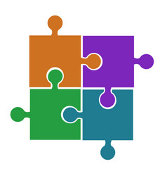 four puzzle pieces orange violet green and blue vector image