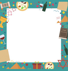 frame with passover holiday flat design icons vector image