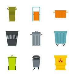 Garbage container icon set flat style vector