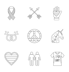 Gays and lesbians icons set outline style vector